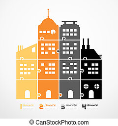 infographic Template city tower jigsaw banner . concept vector illustration