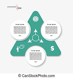 Infographic template design with triangle and 3 segments.  can be used for presentation, web design, workflow or graphic layout, diagram, numbers options