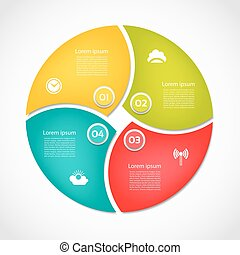 Infographic Template for Business. 4 steps cycling diagram. Process diagram. Progress diagram. Vector infographic. Vector diagram. Cyclical diagram.