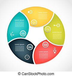 Infographic Template for Business. 5 steps cycling diagram. Process diagram. Progress diagram. Vector infographic. Vector diagram.