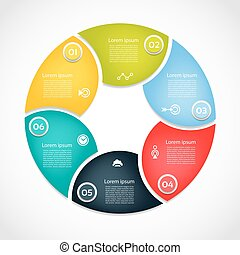 Infographic Template for Business. 6 steps cycling diagram. Process diagram. Progress diagram. Vector infographic. Vector diagram.