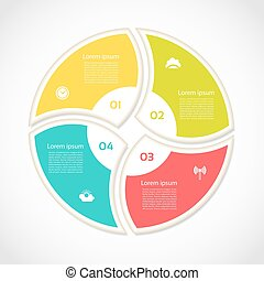 Infographic Template for Business. Four steps cycling diagram. Process diagram. Progress diagram. Vector infographic. Vector diagram.