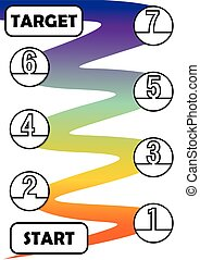 Infographic template for process in seven steps with start and target. Individual process steps are linked by a rainbow wavy graphic element