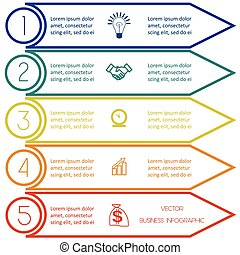 Infographic template from Colourful lines five  positions
