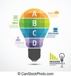 infographic Template geometric Light bulbs banner . concept vector illustration
