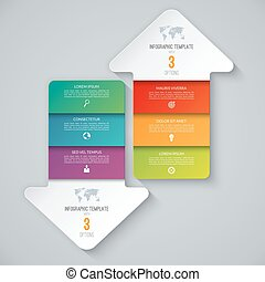 Infographic template in the form of arrows pointing up and down