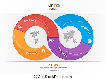 Infographic template in the form of the infinity sign with 4 steps