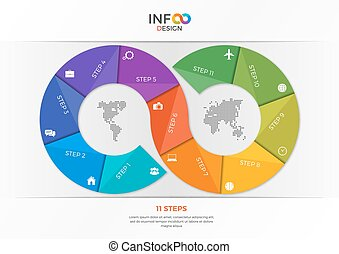 infographic template in the form of the infinity sign 11 steps