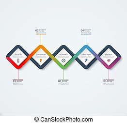 Infographic template of square elements.