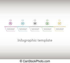 Infographic template, simple timeline with icons