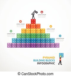 Infographic Template step building Pyramid blocks . concept...