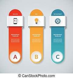 Infographic template with 3 options, steps, parts, circles,...