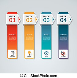 Infographic template with 4 arrows, options, steps, parts, vertical bars