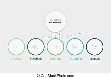 Infographic template with 5 steps for success. Business circle template with options for brochure, diagram, workflow, timeline, web design.