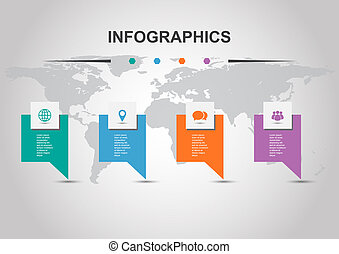 Infographic template with banners design