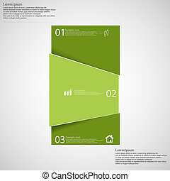 Infographic template with bar randomly divided to three green parts