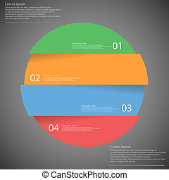 Illustration infographic with motif of colorful circle which is divided cut to four parts with unique number, color and space for own customer text. Background is dark.