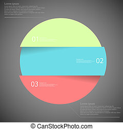 Illustration infographic with motif of colorful circle which is divided cut to three parts with unique number, color and space for own customer text. Background is dark.