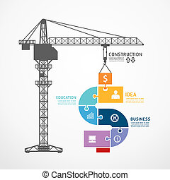 infographic Template with construction tower crane jigsaw banner . concept vector illustration