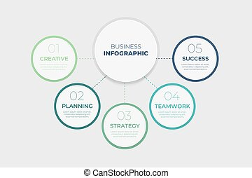 Infographic template with five steps for success. Business circle template with options for brochure, diagram, workflow, timeline, web design.