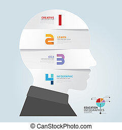 infographic Template with Head paper cut banner . concept vector illustration
