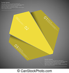 Illustration infographic template with motif of octagon randomly divided to three yellow parts with space for own text, unique number and simple sign. Background is dark.
