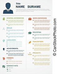 personal profile - infographic template with icons for cv, ...