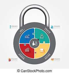 infographic Template with lock jigsaw banner. concept vector ill