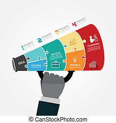 infographic Template with megaphone jigsaw banner . concept vector illustration