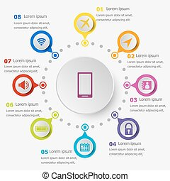 Infographic template with mobile phone icons