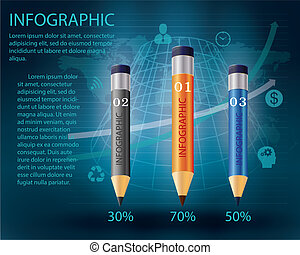 infographic Template with pencil .