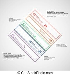 Infographic template with rhombus shape divided to five color parts
