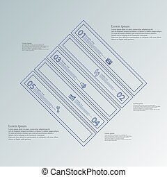 Infographic template with rhombus shape divided to five blue parts