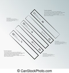 Infographic template with rhombus shape divided to five dark parts