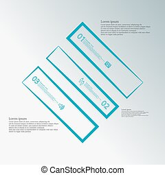 Infographic template with rhombus shape divided to three blue parts