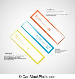 Infographic template with rhombus shape divided to three color parts