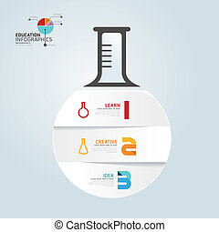 infographic Template with Test-Tube paper cut banner . concept vector illustration