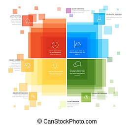 Infographic template with various descriptive squares