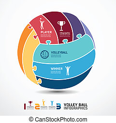 infographic Template with volleyball jigsaw banner . concept vector illustration