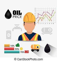infographic, tervezés, iparág, olaj, kőolaj