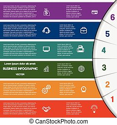 infographic, texto, áreas, seis, posições