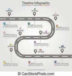 infographic, timeline, element, wektor, layout., droga