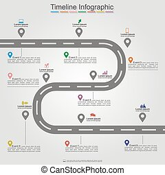 infographic, timeline, elemento, vector, layout., camino