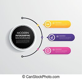 infographic, timeline, icons., 3, vecteur, conception, commercialisation