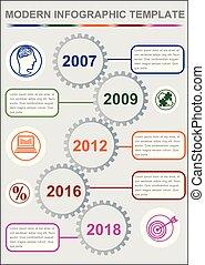 infographic, timeline, modelo, abstratos, vetorial, com, cinco, engrenagem, elementos, ícones, e, espaço cópia, experiência cinza