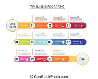 infographic, timeline, schablone, geschäftskonzept, arrows.vector, buechse, sein, gebraucht, für, workflow, plan, diagramm, zahl, treten, auf, optionen, netz- design