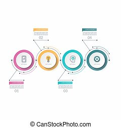 Infographic timeline template with 4 options. Can be used as a chart, diagram, graph for business presentation, annual report, brochure, web design.