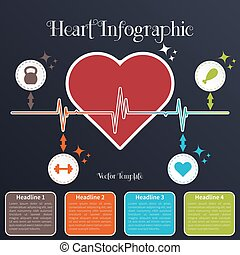 Infographic timeline template with heart