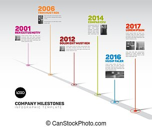 Infographic Timeline Template with pointers and photos -...