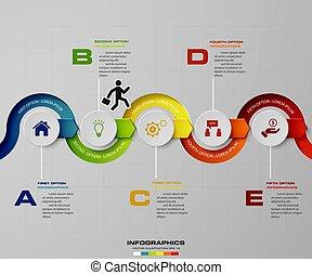 infographic, timeline, vecteur, conception, gabarit, étapes,...